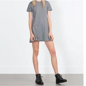Zara dress gray striped size small short sleeve